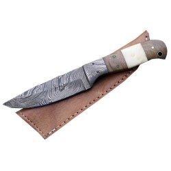 Custom Made Damascus Hunting Knife W/ Full Tang Bone Walnut-Wood Handle