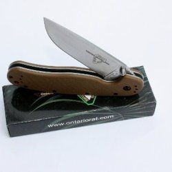 Ontario Knives 8848Cb Satin Finish Rat-1 Linerlock Knife With Coyote Brown Handles