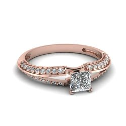 Fascinating Diamonds 1.15 Ct Princess Cut:Ideal Diamond Knife Edge Split Band Engagement Ring 14K Gia