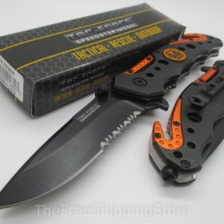 Tac Force Orange And Black Design Assisted Opening Folding Knife