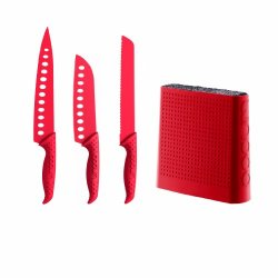 Bodum Bistro 4-Piece Universal Knife Block Set, Red