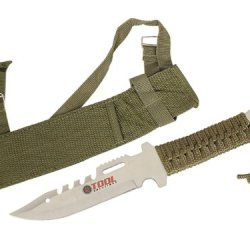"""Wild Animals Ramboo Hunting Knife Series - 11"""" Hunting Knife Silver Blade Half Serrated, Comes With Portable Nylon Case"""