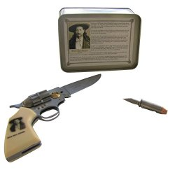 Wild Bill Hickok Pistol Shaped And Bullet Shaped Pocket Knife Set In Gift Box