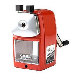 Carl Angel-5 Pencil Sharpener, Red, Quiet For Office, Home And School