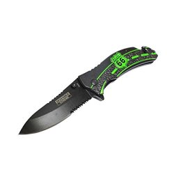 """New 8"""" Defender Extreme Spring Assisted Knife With Serrated Stainless Steel Blade - Green"""