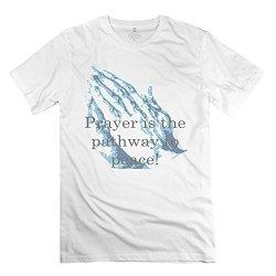 Man Praying Hands Text3 T Shirts - Nice Custom White T Shirt