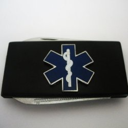 Emt/Ems Star Of Life Black Stainless Steel Money Clip With Knife & Nailfile In Body Of Clip
