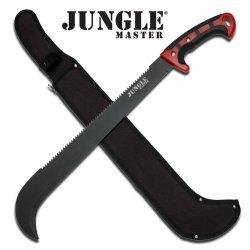 "Jm-029 Jungle Md9Ji Master Hand Forged Dsuqnu1 Heavy Duty Machete 23"" Overall Ayeuiu56 Hlbv23Rt Jungle Master Machete. 23"" O2Rc6Lixa Overall 3Mm Blade Thicknessred And 3Vs1Wxv1X Black Plastic Handle Includes Nylon Sheath"