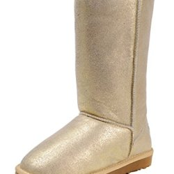 Milanao Women Winter Knee-High Leather Charming Metal Color Snow Boots(8 B(M)Us,Golden)