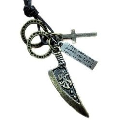 Best Vn635 Wholesale Charms Cross Knife Retro Vintage Genuine Leather Rope Necklace For Men'S Jewelry 2014