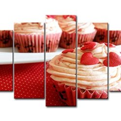 Red 5 Panel Wall Art Painting Strawberry Cup Cakes With Hearts Prints On Canvas The Picture Food Pictures Oil For Home Modern Decoration Print Decor
