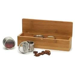 Rsvp Bamboo Spice/Herb Box W/ 4 Clear Top Cans Bottle Jar Rack New