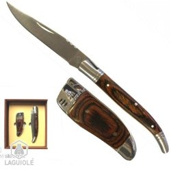 Laguiole Knife 21Cm Opened Exotic Wood Handle Stainlesse Steel And Métal Wooden Électronic Lighter - Wood Aspect Reffilable Electronic Switch Lighting Delivered In A Wooden Box Only Knife Engraving.