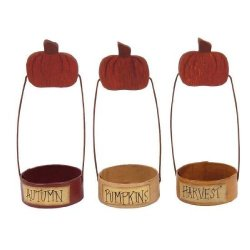 Hand Painted Primitive Autumn Themed Tealight Holders With Paper Mache Base-Set Of 3