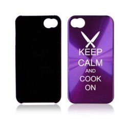 Apple Iphone 4 4S 4G Purple A1172 Aluminum Hard Back Case Cover Keep Calm And Cook On Chef Knives