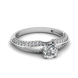 Fascinating Diamonds 0.70 Ct Round Cut Diamond Split Band Engagement Ring Knife Edge Pave Set 14K Gia