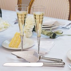 Royal Champagne Flutes And Cake Server Set Customize: Yes