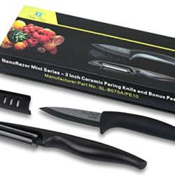"""* Savvy Living Nanorazor 3"""" Professional Ceramic Chef'S Paring Knife (8 Inch And 6 Inch Also Available) With Free Ceramic Peeler - The Most Durable Ceramic Blade On The Market - Vegetable And Fruit Cutlery Choice By Many Professional Chefs - Thoughtful Gi"""