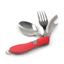3 In 1 Outdoor Fork Knife Spoon Survival Kit Red For Camping