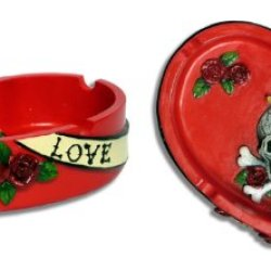 Handpainted Eternal Love Skull Crossbones & Dagger Red Rose Heart Shape Ash Tray
