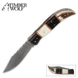 Timber Wolf Custom Bone Lockback Pocket Knife
