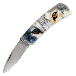 Fury Animal Litho Folding Pocket Knife, 3.5-Inch, Presentation Box (Wolf Eyes)