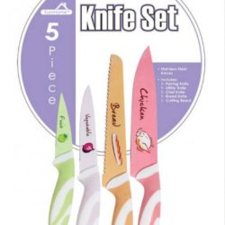 Euroware 5 Piece Stainless Steel Knife Set Includes Paring Knife, Utility, Chef And Bread Knife Plus A Cutting Board