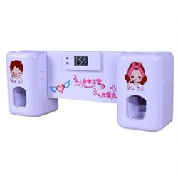 Automatic Squeezing Plastic Toothpaste Dispenser Toothbrush Holder Family Set