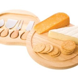 True Fabrications Cheese Board And 4 Cheese Knife Set