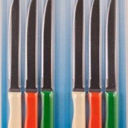 Fixwell Steak Knives 6Pc Set, Multicolor Handles