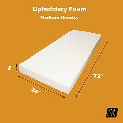 "2"" X 24"" X 72"" Upholstery Foam Cushion Medium Density Standard (Seat Replacement , Upholstery Sheet , Foam Padding)"