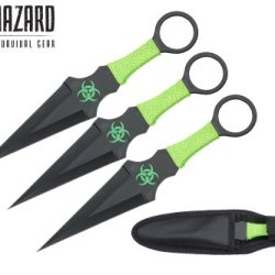9 Inch 3Pcs Set Black Zombie Throwing Knife Biohazard A8033-3Bk
