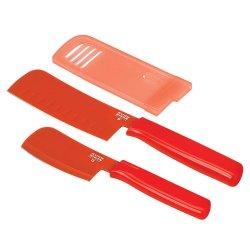 """Kuhn Rikon Colori Knife Set, 3"""" Mini Prep Knife And A 6"""" Nakiri-Red"""