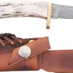Silver Stag Knives 25 Swoop Damascus Fixed Blade Knife With Crown Stag Handle