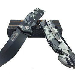 Tac Force Digital Camo Design With Black Stainless Steel Blade Knife