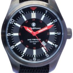 Smith & Wesson Campco Military H3 Tritium 10Atm 2117 Movement Watch With Black Coated Brass Case And Three Interchangeable Straps