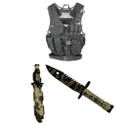 Ultimate Arms Gear Stealth Black Lightweight Edition Tactical Scenario Military-Hunting Assault Vest W/ Right Handed Quick Draw Pistol Holster + Urban / Snow Camo Camouflage Special Forces Series M9 M-9 Military Sawback Survival Tigerstripe Tiger Stripe B