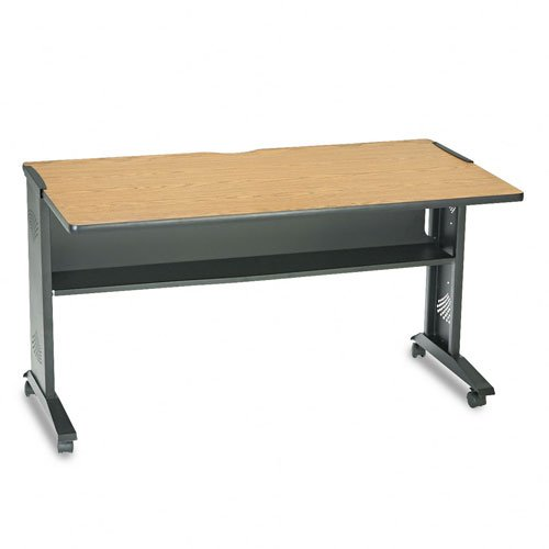 Picture of Comfortable Safco Products - Safco - Mobile Computer Desk W/ Reversible Top, 54 x 28 x 30, Mahogany/Medium Oak/Black - Sold As 1 Each - Melamine top reverses during setup for a choice of mahogany or medium oak finish. - Black steel base with full-width 6-3/4