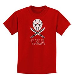 Scary Mask With Machete - Tgif Childrens Dark T-Shirt - Red - Small