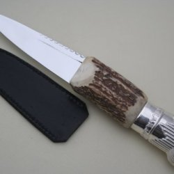 New Scroll Silver And Stag Handle Sheffield Sgian Dubh