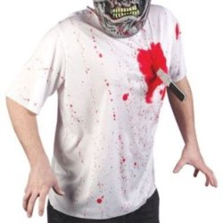 Men'S Costume Shirt: Horror Spoof- Standard *** Product Description: Blood Stained T-Shirt With Plastic Knife In Heart Attached With Hook And Loop Fastener. Adult Standard Fits Men 140-200Lbs. Mask Is Not Included. Polyester And Eva. ***