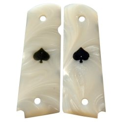 Premium Gun Grips 1911 Acrylic Pearl Gun Grips, Will Fit All Government Issue Full Size 1911'S And Most Clones - Pearl With Black Spade Insert