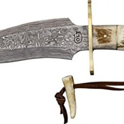 Colt Damascus Bowie Fixed Blade Knife, 7.5In, Damascus Steel Bowie, Genuine Stag Handle So-Ct414