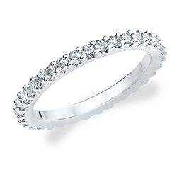 18K White Gold Diamond Knife Edge Eternity Band (.50 Cttw, G-H Color, Si1-Si2 Clarity) Size 5.5