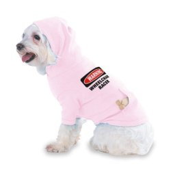 Wheelchair Racer Hooded (Hoody) T-Shirt With Pocket For Your Dog Or Cat Medium Lt Pink