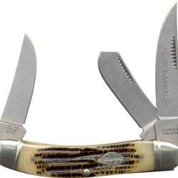 Schrade Sch11 3 Blade Sow Belly Pocket Knife In Cigar Box