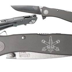Crossed Cannons Army Air Defense Custom Engraved Sog Twitch Ii Twi-8 Assisted Folding Pocket Knife By Ndz Performance