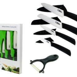 "Bundle Monster Complete Series - 9 Piece Ceramic Cutlery Knives Set (6"" Chef'S, 6"" Santoku, 4"" Utility, 3"" Paring, And 1 Peeler) White Knife Blade And Sheath"
