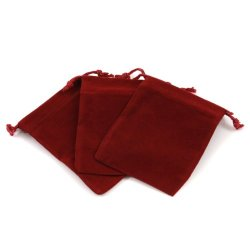 Burgundy Velour Large Gift Pouch Set Of 3 - 4 Inches - Final Sale