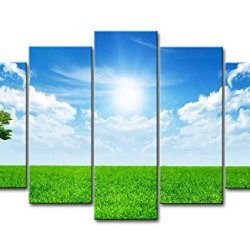 5 Piece Wall Art Painting Sunny Blue Sky Grassland A Tree Pictures Prints On Canvas Landscape The Picture Decor Oil For Home Modern Decoration Print For Bedroom
